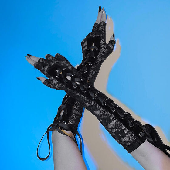 Darkness Within Lace Gloves - ALTERBABE Shop Grunge, E-girl, Gothic, Goth, Dark Academia, Soft Girl, Nu-Goth, Aesthetic, Alternative Fashion, Clothing, Accessories, Footwear
