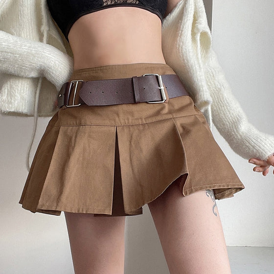 Scholar Belted Pleated Skirt - ALTERBABE Shop Grunge, E-girl, Gothic, Goth, Dark Academia, Soft Girl, Nu-Goth, Aesthetic, Alternative Fashion, Clothing, Accessories, Footwear