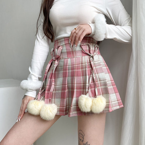 Sunday Funday Furball Skirt - ALTERBABE Shop Grunge, E-girl, Gothic, Goth, Dark Academia, Soft Girl, Nu-Goth, Aesthetic, Alternative Fashion, Clothing, Accessories, Footwear