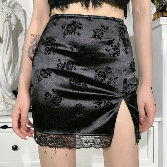 Sin Floral Mini Skirt - ALTERBABE Shop Grunge, E-girl, Gothic, Goth, Dark Academia, Soft Girl, Nu-Goth, Aesthetic, Alternative Fashion, Clothing, Accessories, Footwear