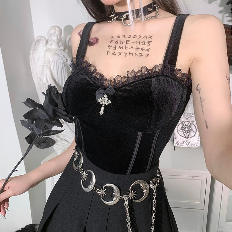 Victorian Sorceress Cross Top - ALTERBABE Shop Grunge, E-girl, Gothic, Goth, Dark Academia, Soft Girl, Nu-Goth, Aesthetic, Alternative Fashion, Clothing, Accessories, Footwear