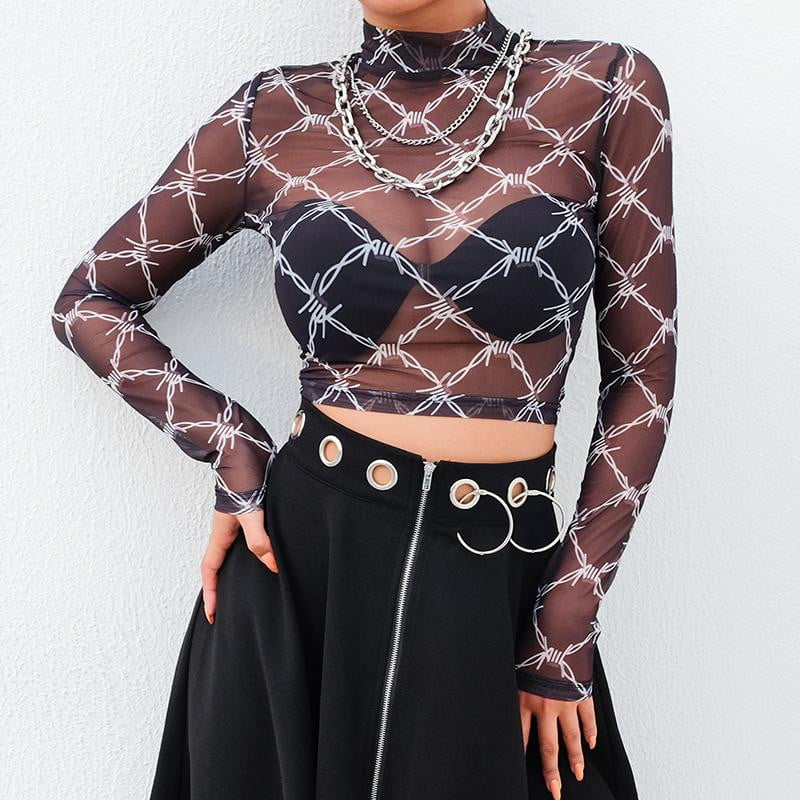 Barbwire Babe Mesh Top