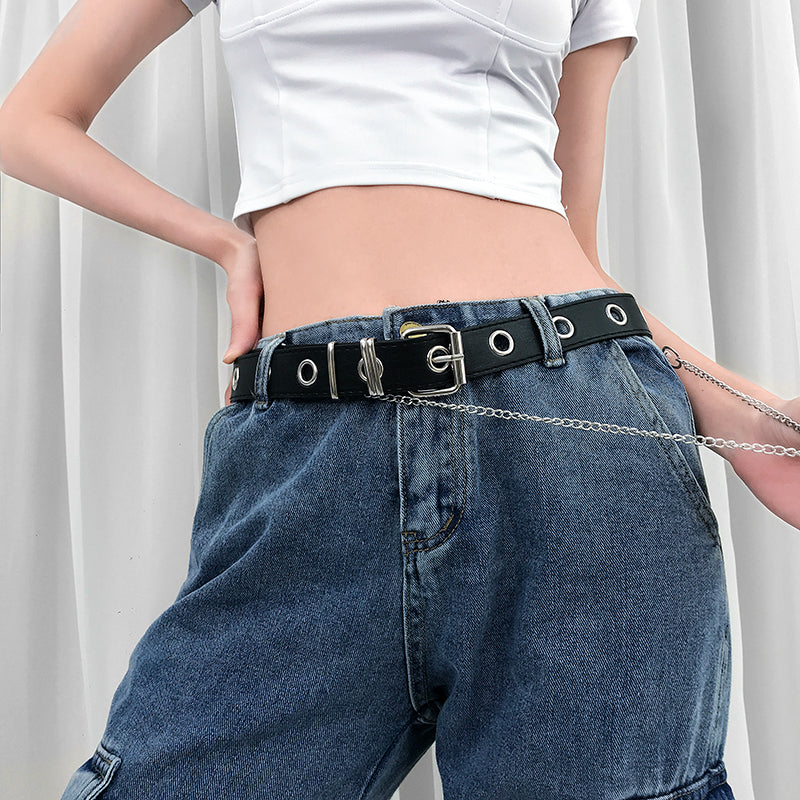 Dangerous Default Chain Belt - ALTERBABE Shop Grunge, E-girl, Gothic, Goth, Dark Academia, Soft Girl, Nu-Goth, Aesthetic, Alternative Fashion, Clothing, Accessories, Footwear