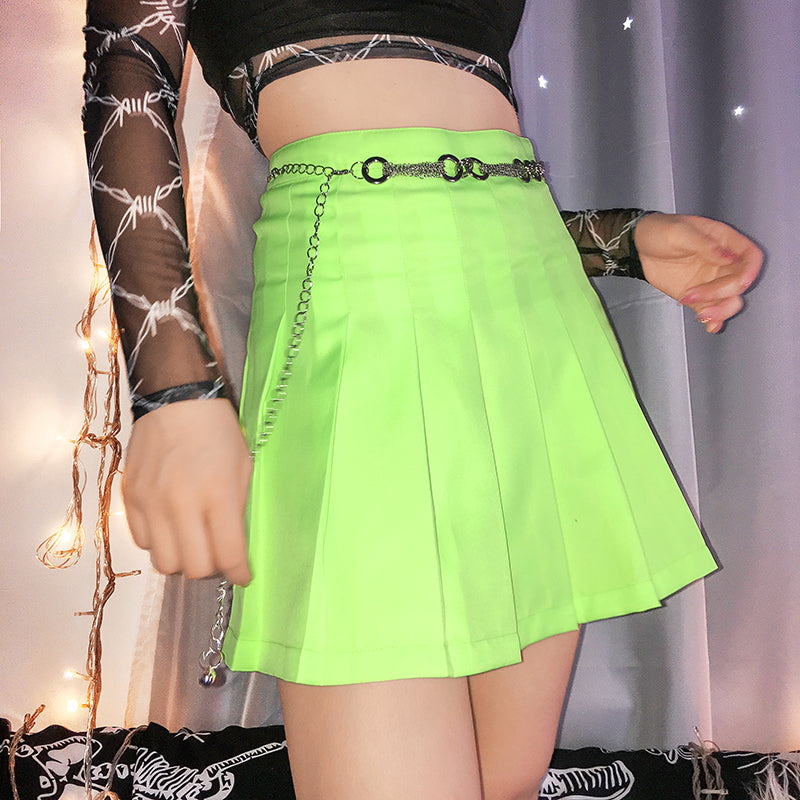 Lime Neon Pleated Skirt