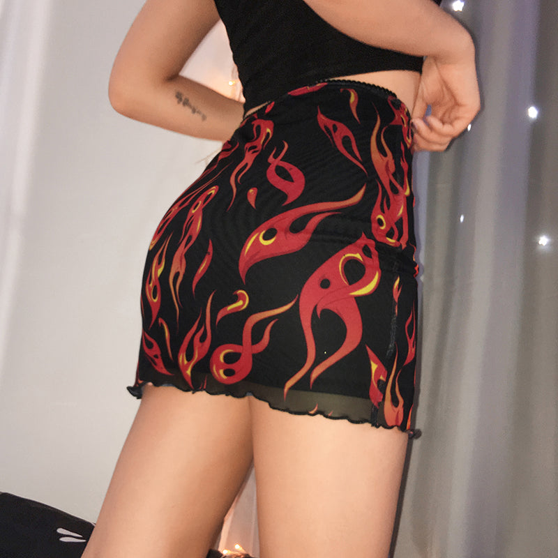 Flames Mini Skirt