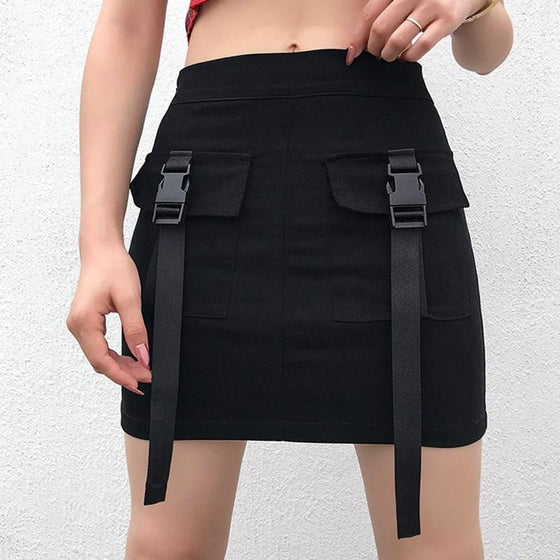 Buckle Cargo Mini Skirt