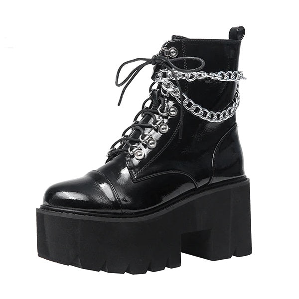 Drippin' In Chains Platform Boots - ALTERBABE Shop Grunge, E-girl, Gothic, Goth, Dark Academia, Soft Girl, Nu-Goth, Aesthetic, Alternative Fashion, Clothing, Accessories, Footwear