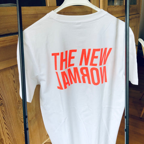 The new normal (white with neon red print)