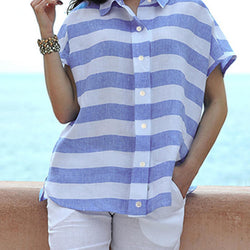 Casual Women Lapel Striped Button Short Sleeve Blouse