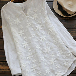 Floral Embroidery V neck Long Sleeve Vintage Blouse