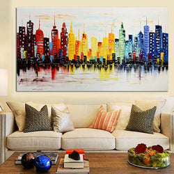 Modern City Canvas Abstract Painting Print