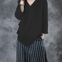Casual Women Cotton Loose V Neck Cross Sleeve Blouse