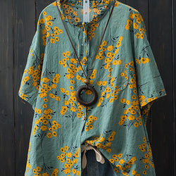 Women Cotton Loose Batwing Sleeve Floral Print Button Pocket Shirts