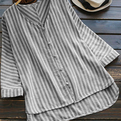 Women Long Sleeve Irregular Loose Stripe V Neck Blouse