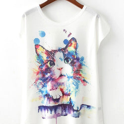 Casual Women Cat Printed Short Sleeve O Neck T shirt