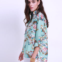 Floral Printed Women V Neck Long Sleeve Blouses
