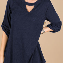 Women Casual V Neck Sleeve Loose Solid Blouse