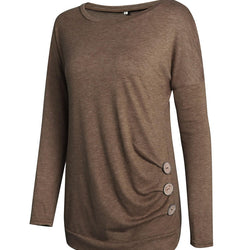 Casual Women Long Sleeve Solid Color T shirt with Button Design