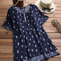 Casual Women Asymmetrical Plain Short Sleeve Cat Print O neck T shirts