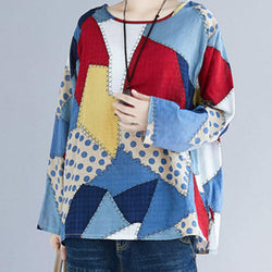 Casual Women Patchwork Long Sleeve Crew Neck Hign Low Hem Shirt