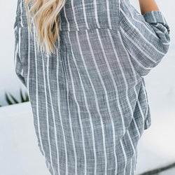 Women Stripe V Neck Long Sleeve Irregular Baggy Blouse