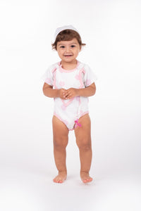 Smart Short Sleeve Bodysuit + Bib - Pink Rose - Scarlett + Michel