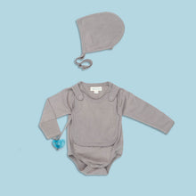 Load image into Gallery viewer, Smart Long Sleeve Kimono Bodysuit + Bib - Gray - Scarlett + Michel