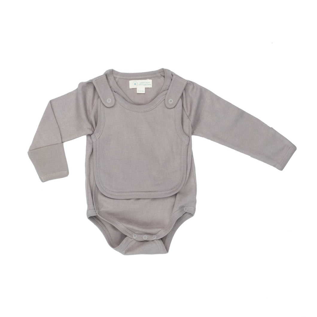 Smart Long Sleeve Kimono Bodysuit + Bib - Gray - Scarlett + Michel