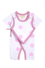 Load image into Gallery viewer, Smart Short Sleeve Kimono Romper + Bib - Pink Rose - Scarlett + Michel
