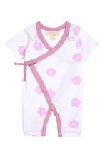 Load image into Gallery viewer, Smart Short Sleeve Kimono Romper + Bib - Pink Rose