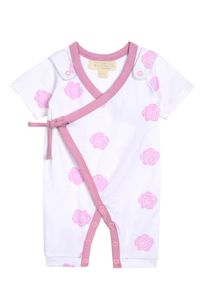 Smart Short Sleeve Kimono Romper + Bib - Pink Rose - Scarlett + Michel