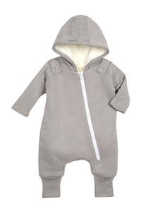 Smart Cuddly Jumpsuit + Bib - Gray