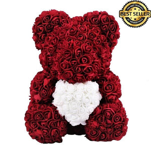 Exclusive Burgundy Rose Bear - Madeofrose