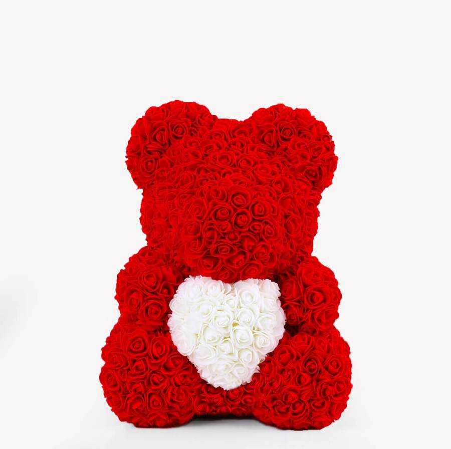 Rose Bear Red White Heart Madeofrose