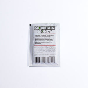 Mountain Money Outdoor Wipes.. 10 individual wipes in a reclosable bag