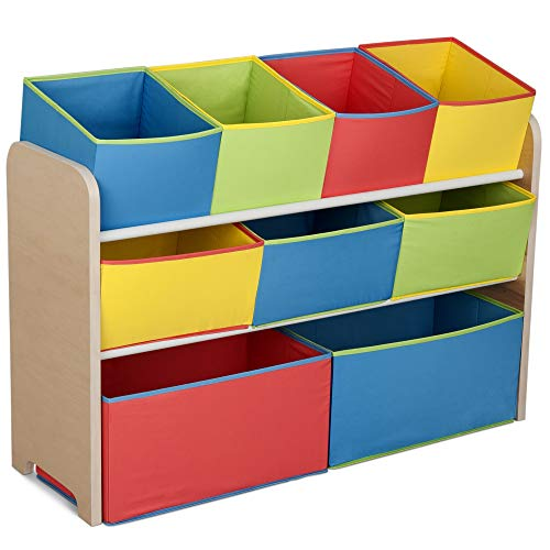Delta Children Deluxe 9-Bin Toy Storage Organizer, Natural/Primary - Garrison City Toy Work's