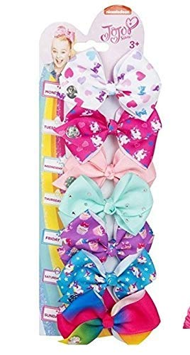 NC Bows 7 days Jojo Bow 8 cm with Unicorn and Rainbow pattern - Beautiful Hair Accessories - Best Xmas Present Stocking Filler for Girls - Garrison City Toy Work's