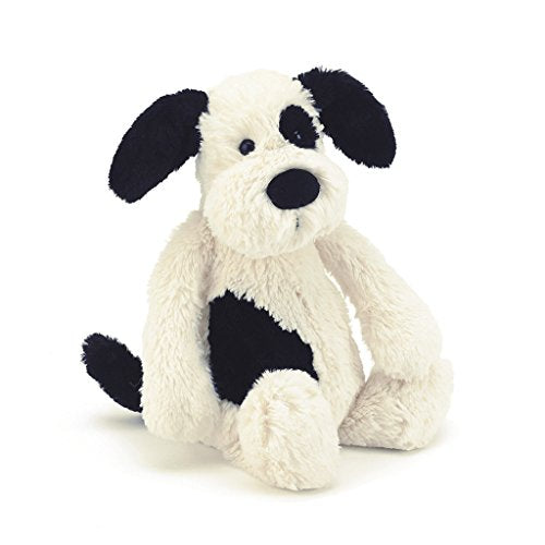 Jellycat Bashful Black and Cream Puppy, Medium, 12 inches - Garrison City Toy Work's
