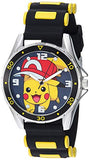 Pokemon Silver Tone Metal Analog-Quartz Watch with Rubber Strap, Black, 20.7 (Model: POK9010) - Garrison City Toy Work's
