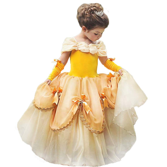 TYHTYM Belle Costumes Dress Up Party Girls Princess Cosplay Halloween Kids Ball Gown 2-13Years Gold