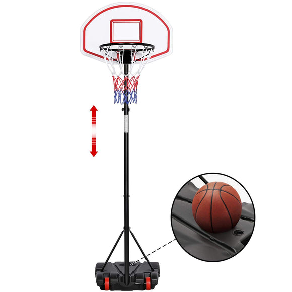 Yaheetech Portable Basketball Hoop Stand Backboard System Height Adjustable 5.2-7 ft Kids Basketball Goal Indoor Outdoor with Wheels - Garrison City Toy Work's