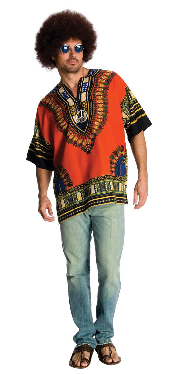 Rubie's Heroes And Hombres Men's Hippie Shirt And Wig, Orange, Standard - Garrison City Toy Work's