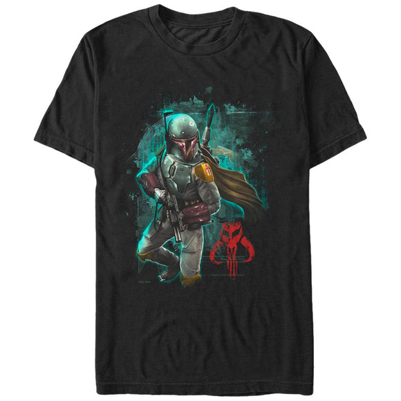 Star Wars Men's Mandalorian Warrior Graphic T-Shirt, Black, XXL - Garrison City Toy Work's
