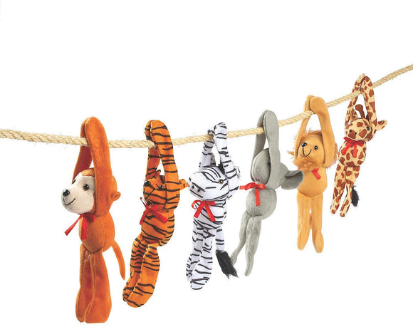 Hanging Zoo Animals Random - Plush Long Arm Zoo Animals W/Velcro Paws - Garrison City Toy Work's