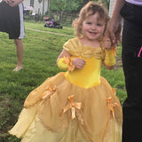 TYHTYM Belle Costumes Dress Up Party Girls Princess Cosplay Halloween Kids Ball Gown 2-13Years Gold - Garrison City Toy Work's