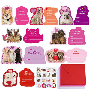 48 Sets Assorted Dog Valentine's Day Cards Bulk Cute Pet Love Greeting Cards - Garrison City Toy Work's