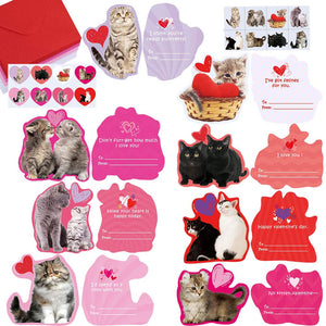 48 Sets Valentine's Day Cards Bulk Cute Cat Kitten Pet Love Greeting Cards - Garrison City Toy Work's