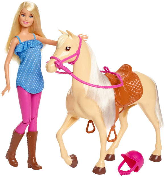 Barbie Doll, Blonde, Wearing Riding Outfit with Helmet, and Light Brown Horse with Soft White Mane and Tail, Gift for 3 to 7 Year Olds -