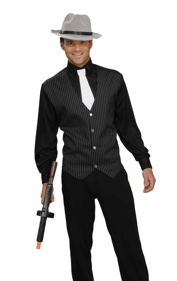 Men's Gangster Shirt, Vest And Tie, Black/White, One Size Costume - Garrison City Toy Work's