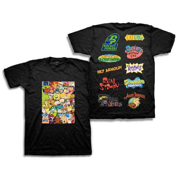 Nickelodeon Mens 90's Classic Shirt - Rugrats & Hey Arnold Vintage T-Shirt (Black, Medium) - Garrison City Toy Work's